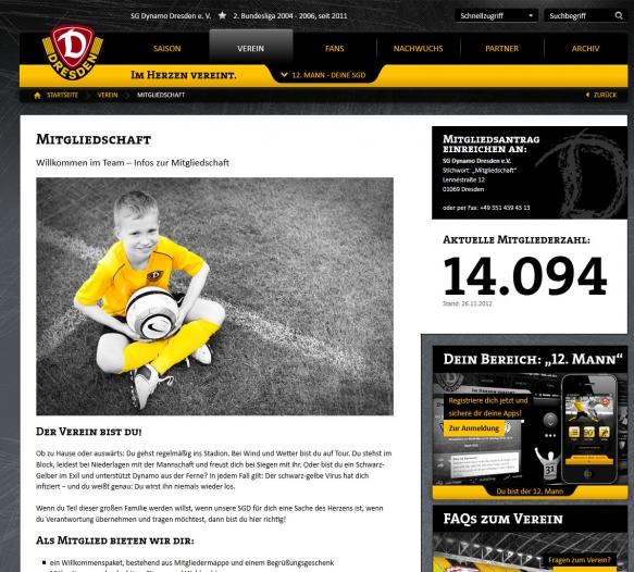 Neue Internetseite der SG Dynamo Dresden