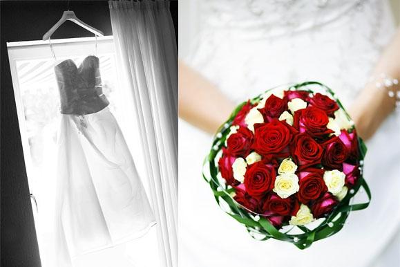 Hochzeitsfotograf - Brautkleid im Gegenlicht & Brautstrauß