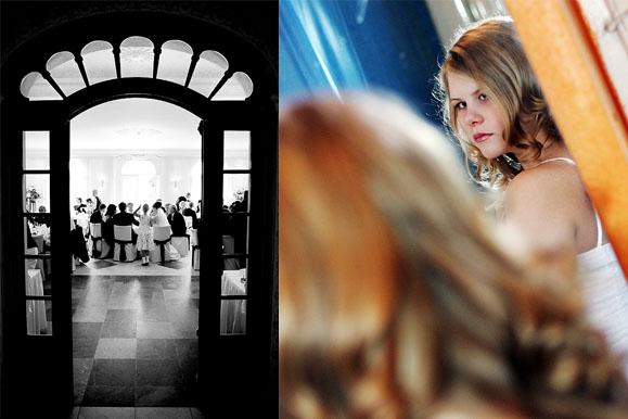 Hochzeitsfotograf - Hochzeitsfoto von Hochzeitsgesellschaft auf Schloß Wackerbarth & prüfender Blick der Braut
