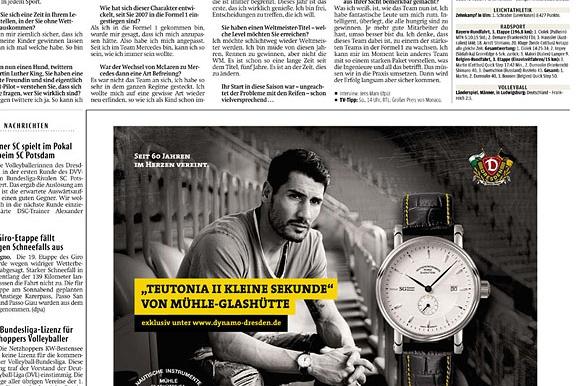 Firmenfotograf - Anzeige in der Sächsischen Zeitung für die Dynamo-Uhr von Mühle-Glashütte